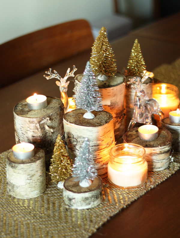 diy christmas table decor birch and reindeer