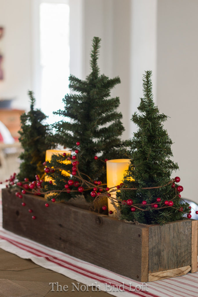 diy christmas table decor box trees - Simple Christmas Table Decorations