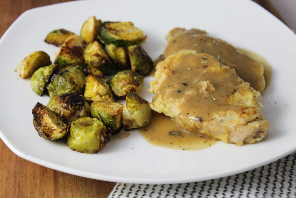 Breaded Pork Chops and Roasted Balsamic Brussels Sprouts