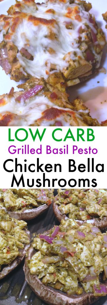 Low Carb Grilled Basil Pesto Chicken Portobello Mushrooms