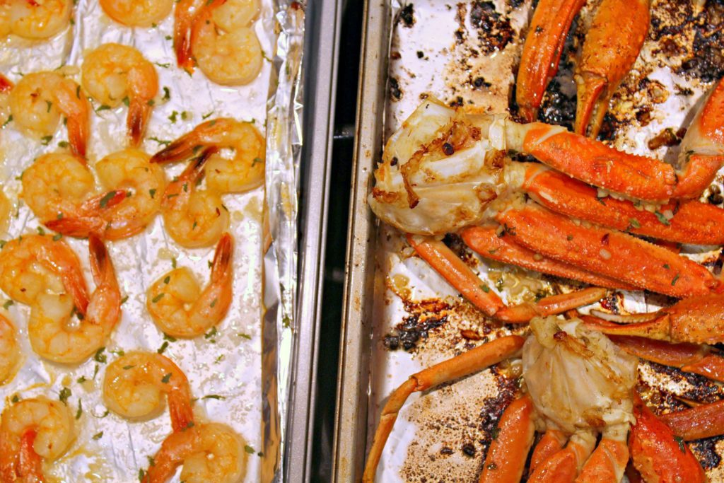Baked Crab Legs and Shrimp
