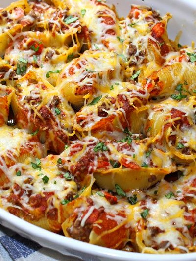 Baked Enchilada Pasta Shells